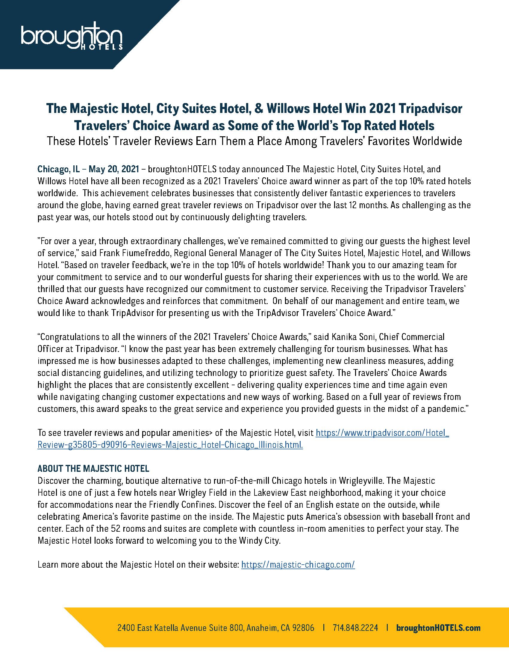 2021 Tripadvisors Travelers' Choice Award for Northside Chicago Hotels
